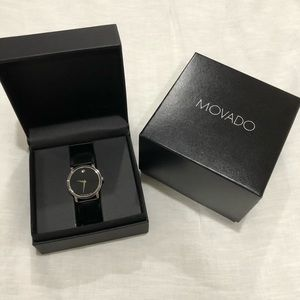 Black Leather men's Movado Watch